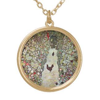 Hühner des Garten-Weg-w, Gustav Klimt, Kunst Vergoldete Kette