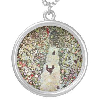 Hühner des Garten-Weg-w, Gustav Klimt, Kunst Versilberte Kette