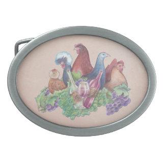 Hühner und Wein Ovale Gürtelschnalle