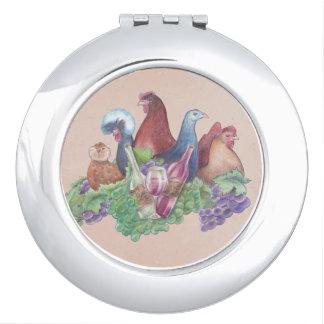 Hühner und Wein Taschenspiegel