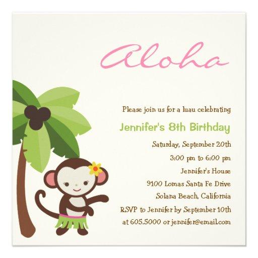 Hula Affe Luau Party Einladung