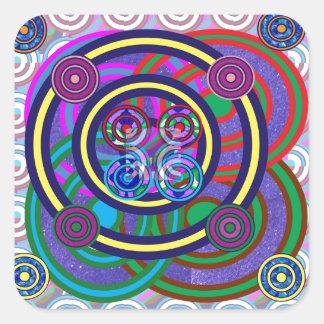 Hula Band-runde bunte Kreise Quadratischer Aufkleber