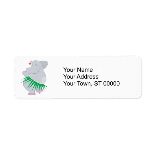 hula Flusspferd Kleiner Adressaufkleber