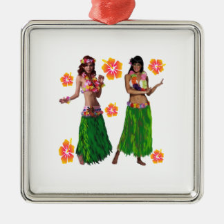 hula kaiko quadratisches silberfarbenes ornament