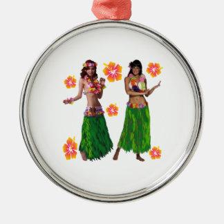 hula kaiko rundes silberfarbenes ornament