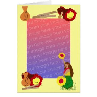Hula Tänzer mit ihrer Uli uli Schablonenkarte Karte