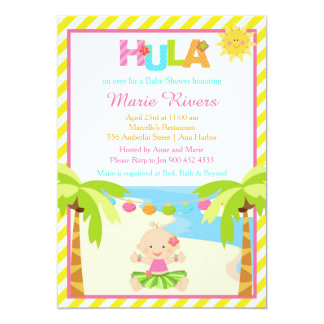 Hula tropische Mädchen-Babyparty 12,7 X 17,8 Cm Einladungskarte