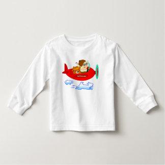 Hülsen-Baby-Shirt des Flugzeug langes Kleinkinder T-shirt