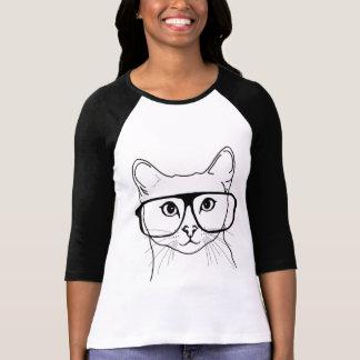 Hülsen-Shirt der Hipsterkatze 3/4 T Shirts