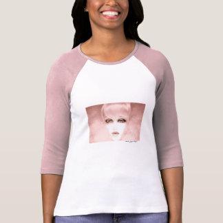 Hülsen-T - Shirt-Rosaweiß Frauen rosa Dame 3/4 Hemden