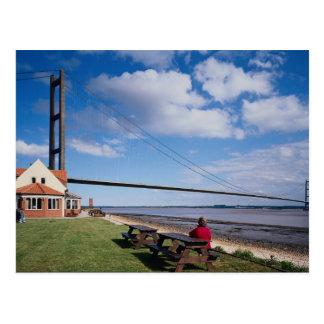 Humber Brücke, vom Nordufer, Großbritannien Postkarte