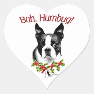 Humbug Bostons Terrier Bah Herz-Aufkleber