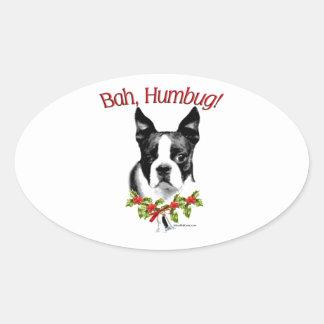 Humbug Bostons Terrier Bah Ovaler Aufkleber