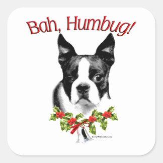Humbug Bostons Terrier Bah Quadratischer Aufkleber