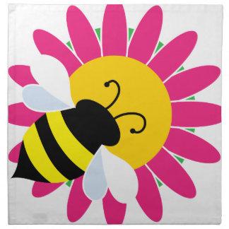 Hummel-Biene auf Blume Stoffserviette