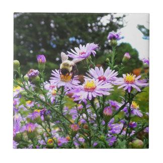 Hummel-Biene in der Blume Kleine Quadratische Fliese
