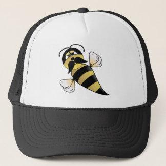 Hummel-Biene mit dem Schnurrbart Truckerkappe