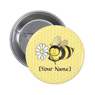 Hummel-Biene mit Gänseblümchen Runder Button 5,7 Cm
