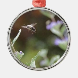 Hummel-Biene Rundes Silberfarbenes Ornament