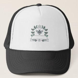 Hummel-Kaffee verlässt Kirschen Blume Monolinie Truckerkappe