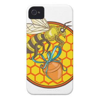 Hummel-tragender Honig-Topf-Bienenstock-Kreis iPhone 4 Hülle