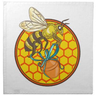 Hummel-tragender Honig-Topf-Bienenstock-Kreis Serviette