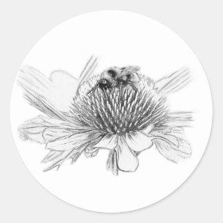 Hummel und Blume Runder Aufkleber