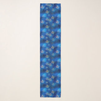 Hummeln, die blaues Muster fliegen Schal
