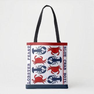 Hummer-Krabben-rote weiße blaue Tasche