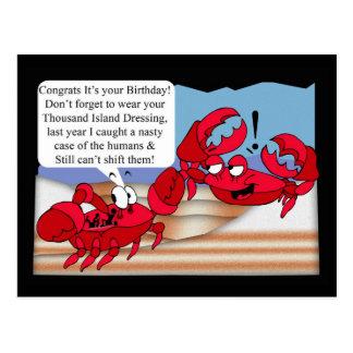Humor-Geburtstags-Karte mit zwei Krabben Postkarte