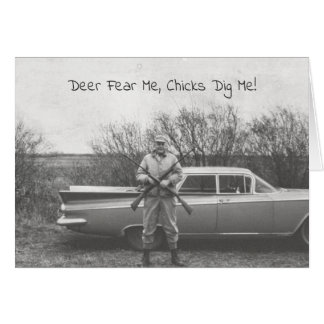Humorvolle Jäger-Rotwild, die altes Automobil Karte