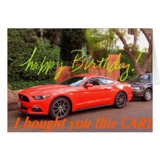 Humorvolle orange Auto-Geburtstags-Karte Karte