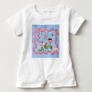 Humorvolle süße Erbsen rosa u. malvenfarbene Baby Strampler