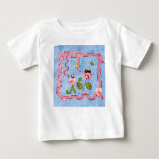 Humorvolle süße Erbsen rosa u. malvenfarbene Baby T-shirt