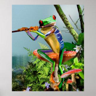 Humorvoller Baum-Frosch, der die Flöte spielt Poster
