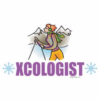 Humorvolles Cross Country-Schnee-Skifahren Freistehende Fotoskulptur