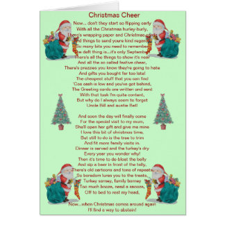 humorvolles Weihnachtsgedicht Sankt und Grußkarte
