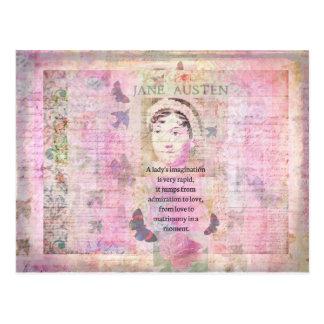 Humorvolles Zitat Janes Austen betreffend Liebe Postkarte