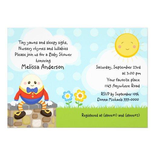 Humpty Dumpty Kinderzimmer-Reim-Baby-Dusche Einladungskarte