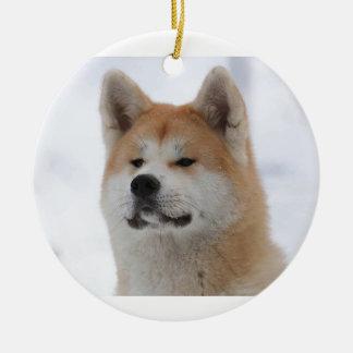 Hund Akitas Inu, der ernst schaut Keramik Ornament