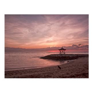 Hund am Sonnenaufgang Postkarte