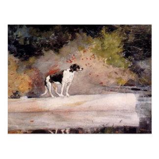 Hund auf einem Klotz durch Winslow Homer Postkarte