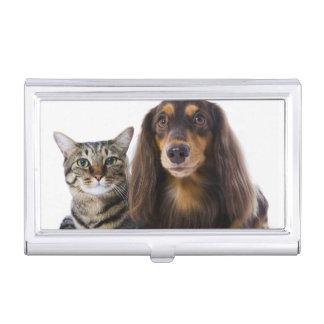 Hund (Dackel) und Katze (japanische Katze) auf Visitenkarten Etui