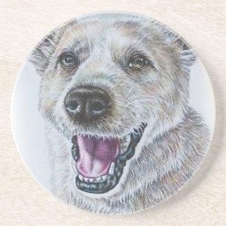 Hund, der Entwurf des Sitzens des glücklichen Sandstein Untersetzer
