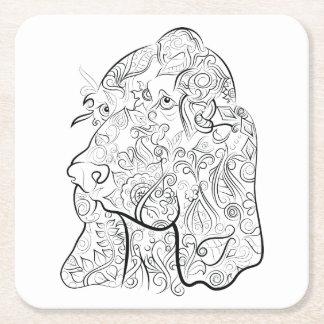 Hund, der erwachsenen Farbton-Untersetzer zeichnet Rechteckiger Pappuntersetzer