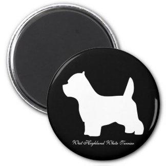 Hund des Westhochland-weißen Terriers, westie Silh Runder Magnet 5,1 Cm