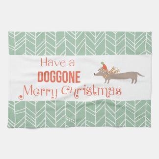 Hund gegangene frohe Weihnachten Küchentuch