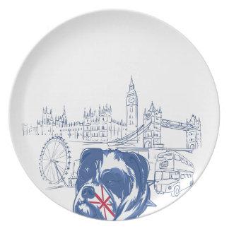 Hund im Vereinigten Königreich Melaminteller