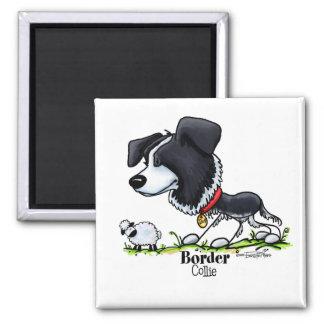 Hund in Herden leben - Border-Colliemagneten Quadratischer Magnet