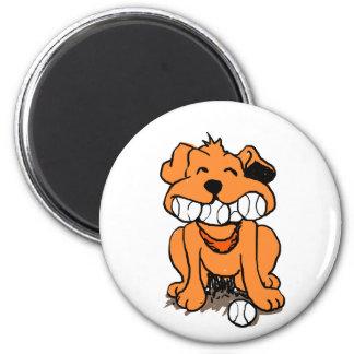 Hund mit Bällen im Mund Runder Magnet 5,1 Cm